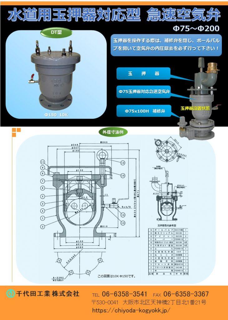 玉押器対応型 急速空気弁 Φ75~Φ200 玉押器を操作する際は、補修弁を閉じボールバルブを開いて、空気弁の内圧除去を必ず行ってください。 FCD・内外面粉体塗装(標準) 玉押器は旧(JIS B 2063)双口空気弁にも取付可能です。 玉押器対応型急速空気弁には玉押器の代わりに、「汚水流入防止ユニット」も取付可能です。玉押器対応型急速空気弁の玉押器取付 ボルト(4本)ピッチは各メーカー共通であり、他メーカーにも取付可能です。 水道用急速空気弁は直接的に水道管を維持管理します。「消火栓」や「仕切弁」は水道管を直接維持管理するものではないのに対して、空気弁は水道管内のエアーを必要に応じて吸排を自動で行います。例えば水道管が破損等を起こして、破損個所から水が勢いよく漏水する場面をTVなどで見かけたことはないでしょうか?このような状況では水道管内に負圧作用で真空状態が生まれ、その状態で道路上で重いトラックなどが通ったりした際に、水道管が「ぺしゃんこ」(紙パックのジュースをストローで飲み切った後も、更に吸い続けると紙パックが「へしゃげる」現象と同じ)になるイメージで2次災害につながる恐れがあります。こういった真空状態を避けるために、空気弁は吸気を行い、水道管の破損を未然に防いでいます。排気は、例えば断水した状態で水道管の工事を終え、通水する時に空気弁からエアーの排気が行わなければ、通水作業がスムーズに行うことができないといったことが空気弁があることによって、水道管、ひいてはライフラインを守っています。図面PDF、図面CADを御用意しています。