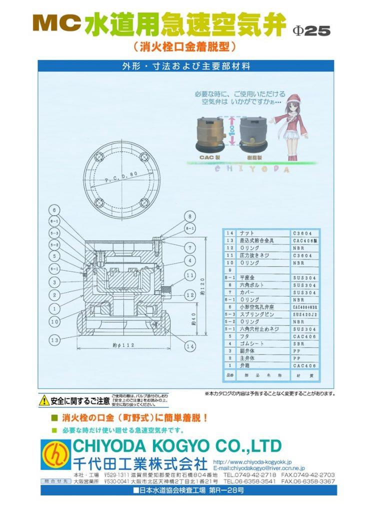 MC 消火栓口金着脱型急速空気弁 Φ25 消火栓口金(町野)に着脱専用! 必要な場合に簡単設置(工具不要) 砲金製と樹脂製を御用意しています。 本MC空気弁を口金に取付けた状態で口金(天)からの高さ=89mm CAC製=3.7Kg    樹脂製=1.5Kg