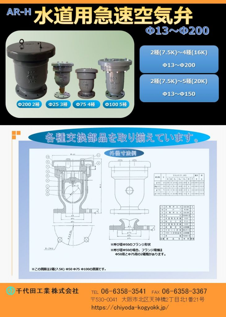 JWWA B 137 規格急速空気弁です。 FCD・内外面粉体塗装(標準) Φ13~Φ200  7.5K(2種)~16K(4種) Φ13~Φ150 7.5K(2種)~20K(5種) 2段式弁体で閉弁時の衝撃緩和! 各種交換部品を取り揃えています。 水道用急速空気弁は直接的に水道管を維持管理します。「消火栓」や「仕切弁」は水道管を直接維持管理するものではないのに対して、空気弁は水道管内のエアーを必要に応じて吸排を自動で行います。例えば水道管が破損等を起こして、破損個所から水が勢いよく漏水する場面をTVなどで見かけたことはないでしょうか?このような状況では水道管内に負圧作用で真空状態が生まれ、その状態で道路上で重いトラックなどが通ったりした際に、水道管が「ぺしゃんこ」(紙パックのジュースをストローで飲み切った後も、更に吸い続けると紙パックが「へしゃげる」現象と同じ)になるイメージで2次災害につながる恐れがあります。こういった真空状態を避けるために、空気弁は吸気を行い、水道管の破損を未然に防いでいます。排気は、例えば断水した状態で水道管の工事を終え、通水する時に空気弁からエアーの排気が行わなければ、通水作業がスムーズに行うことができないといったことが空気弁があることによって、水道管、ひいてはライフラインを守っています。図面PDF、図面CADを御用意しています。