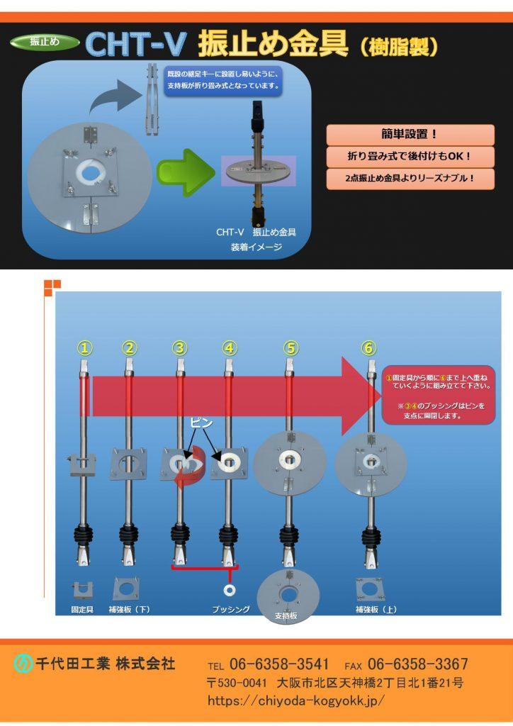 CHT 振止め金具・固定具(V型 F型) 継足しキー用 CHT 振止め金具 V型は既設継足しキーに取付し易いように、指示盤が折りたたみ式になっています。 CHT 振止め金具 F型は「V型」のように指示盤が折りたたみ式ではないため、主に新設の現場で御使用ください。 2点振れ止め金具よりリーズナブル(弊社比較)です。